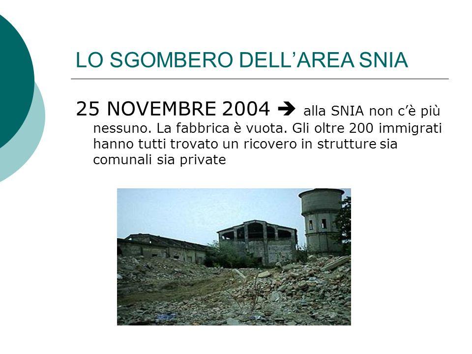 LO SGOMBERO DELLAREA SNIA 25 NOVEMBRE 2004 alla SNIA non cè più nessuno. La fabbrica è vuota. Gli oltre 200 immigrati hanno tutti trovato un ricovero