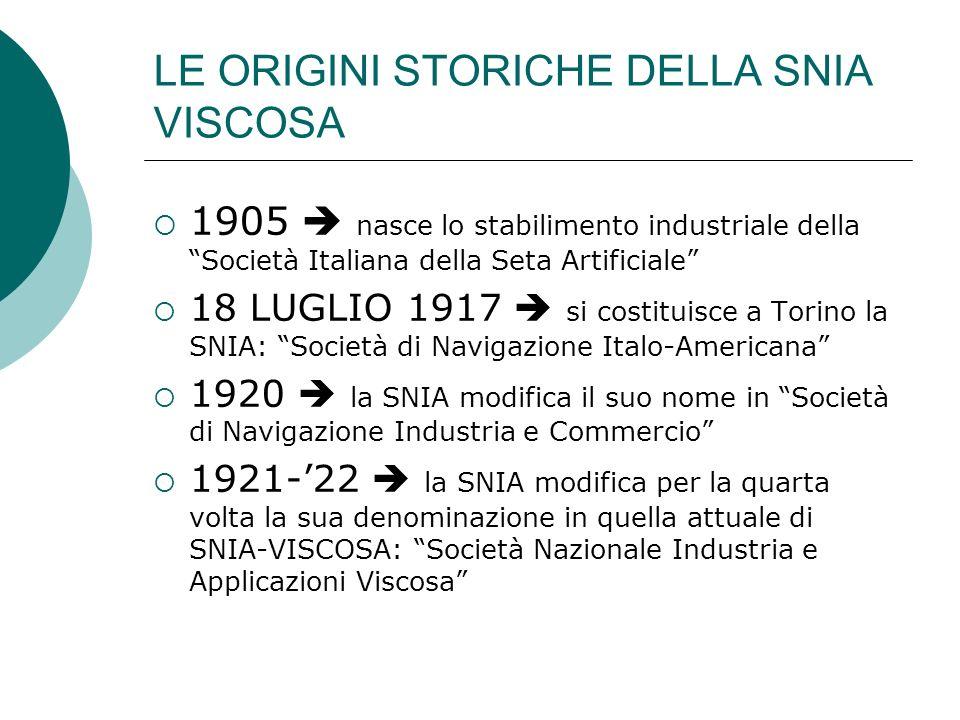 LE ORIGINI STORICHE DELLA SNIA VISCOSA 1905 nasce lo stabilimento industriale della Società Italiana della Seta Artificiale 18 LUGLIO 1917 si costitui