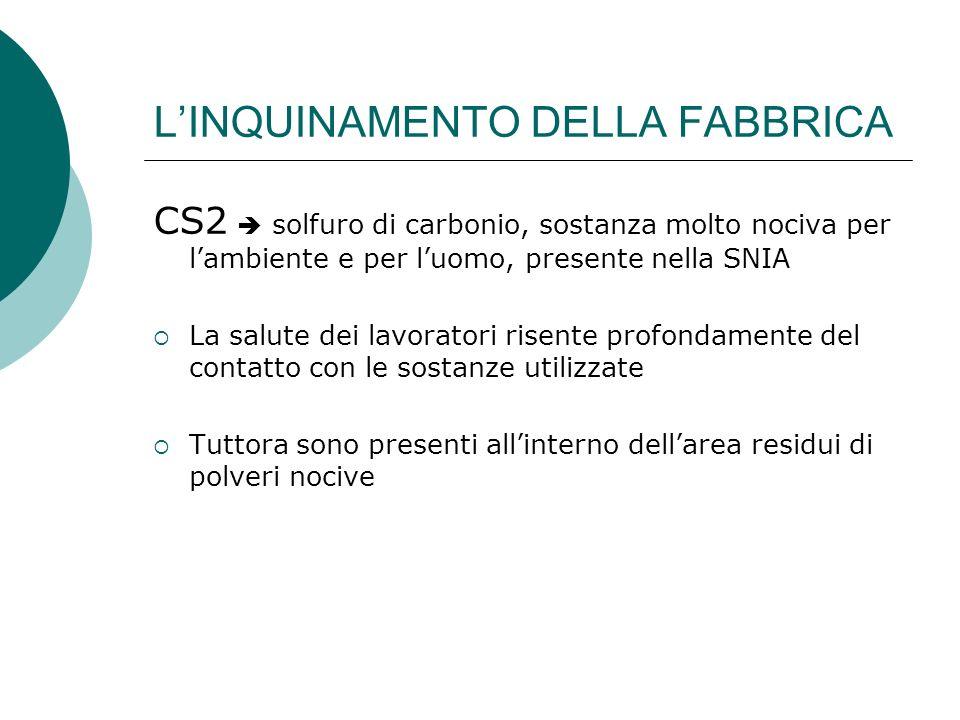 LINQUINAMENTO DELLA FABBRICA CS2 solfuro di carbonio, sostanza molto nociva per lambiente e per luomo, presente nella SNIA La salute dei lavoratori ri