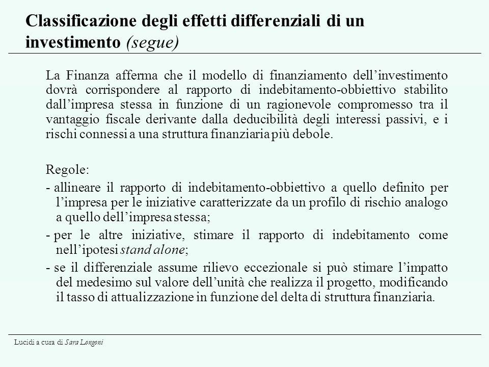 Lucidi a cura di Sara Longoni Classificazione degli effetti differenziali di un investimento (segue) La Finanza afferma che il modello di finanziament
