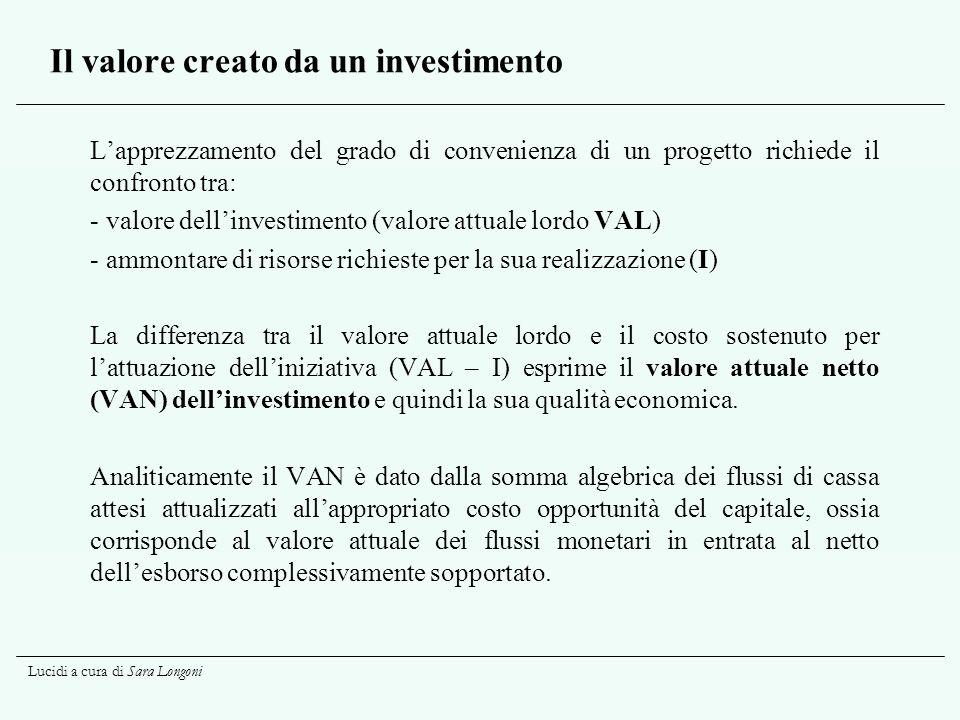 Lucidi a cura di Sara Longoni Il valore creato da un investimento Lapprezzamento del grado di convenienza di un progetto richiede il confronto tra: -