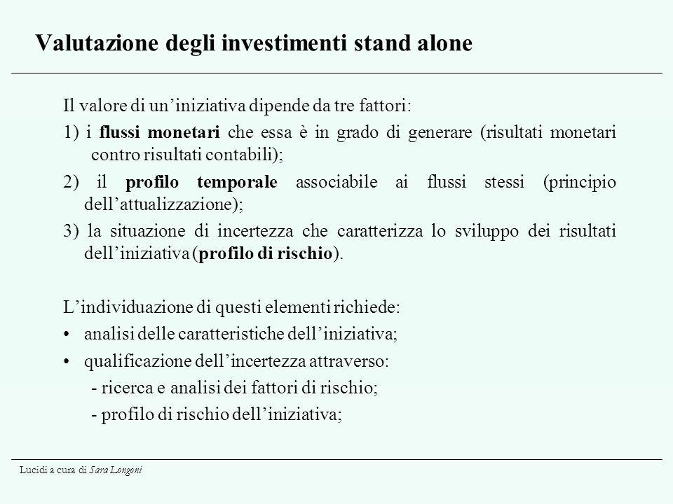 Lucidi a cura di Sara Longoni Valutazione degli investimenti stand alone Il valore di uniniziativa dipende da tre fattori: 1) i flussi monetari che es