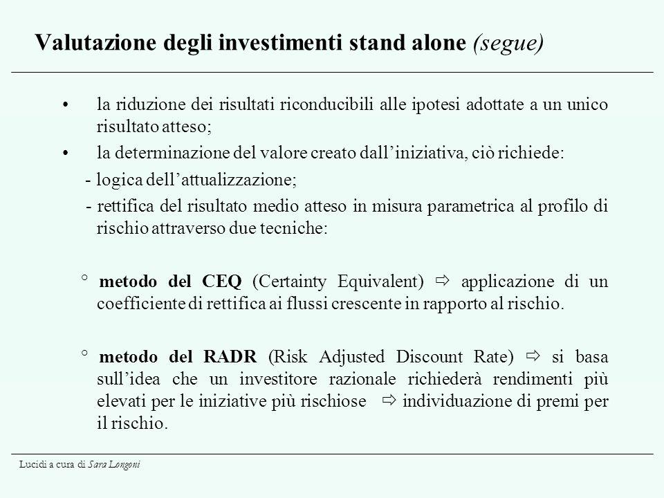 Lucidi a cura di Sara Longoni Valutazione degli investimenti stand alone (segue) la riduzione dei risultati riconducibili alle ipotesi adottate a un u