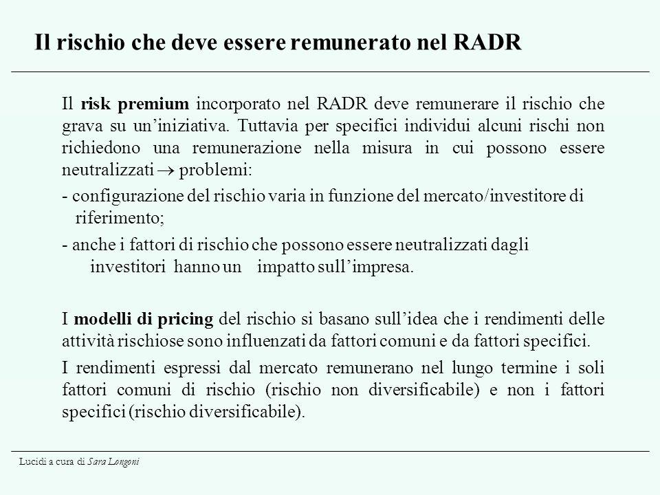 Lucidi a cura di Sara Longoni Il rischio che deve essere remunerato nel RADR Il risk premium incorporato nel RADR deve remunerare il rischio che grava