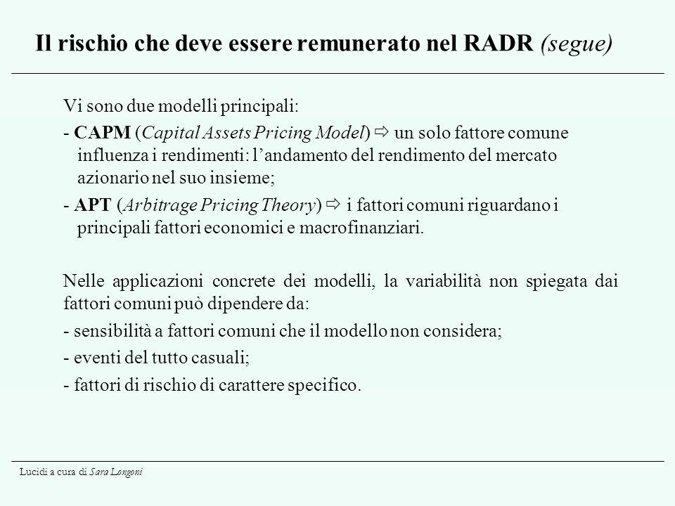 Lucidi a cura di Sara Longoni Il rischio che deve essere remunerato nel RADR (segue) Vi sono due modelli principali: - CAPM (Capital Assets Pricing Mo