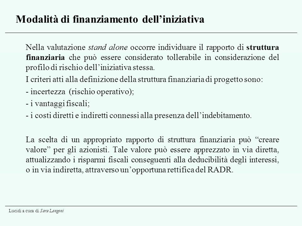 Lucidi a cura di Sara Longoni Modalità di finanziamento delliniziativa Nella valutazione stand alone occorre individuare il rapporto di struttura fina
