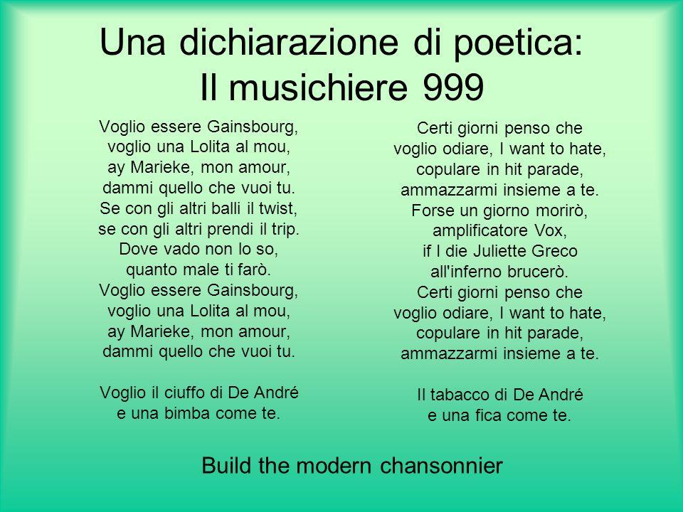 Una dichiarazione di poetica: Il musichiere 999 Voglio essere Gainsbourg, voglio una Lolita al mou, ay Marieke, mon amour, dammi quello che vuoi tu.