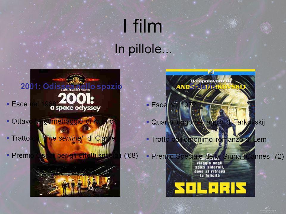 I film 2001: Odissea nello spazio Esce nel 1968 Ottavo lungometraggio di Kubrick Tratto da The sentinel di Clarke Premio Oscar per gli effetti special