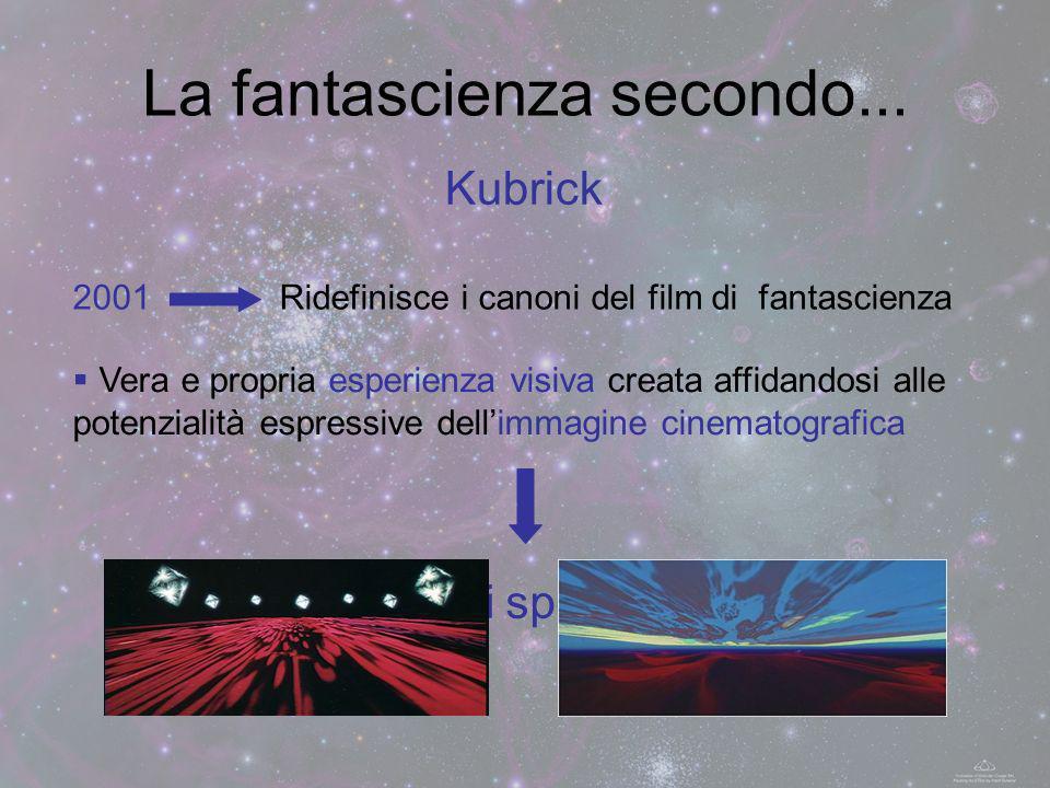 La fantascienza secondo... Kubrick 2001Ridefinisce i canoni del film di fantascienza Vera e propria esperienza visiva creata affidandosi alle potenzia