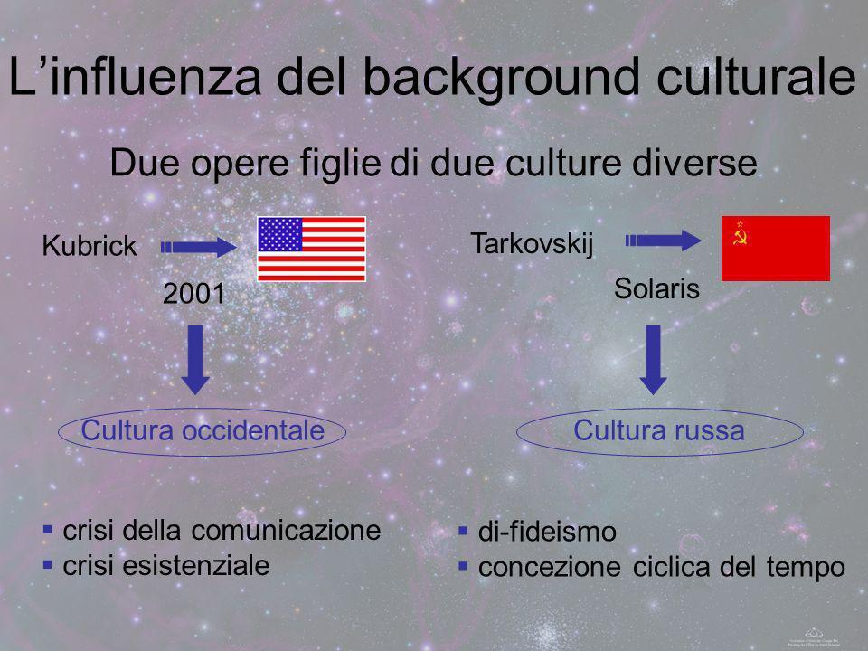 Linfluenza del background culturale Due opere figlie di due culture diverse Kubrick 2001 Cultura occidentale Tarkovskij Solaris Cultura russa crisi de