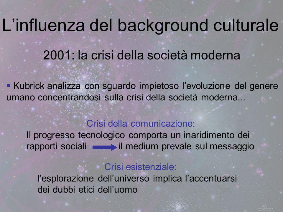 2001: la crisi della società moderna Linfluenza del background culturale Kubrick analizza con sguardo impietoso levoluzione del genere umano concentra