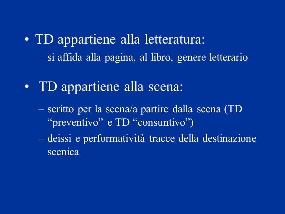 TD appartiene alla letteratura: –si affida alla pagina, al libro, genere letterario TD appartiene alla scena: –scritto per la scena/a partire dalla sc