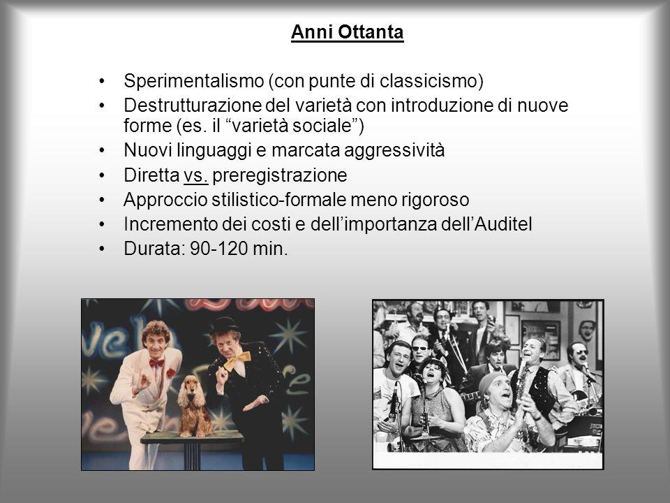 Anni Ottanta Sperimentalismo (con punte di classicismo) Destrutturazione del varietà con introduzione di nuove forme (es.