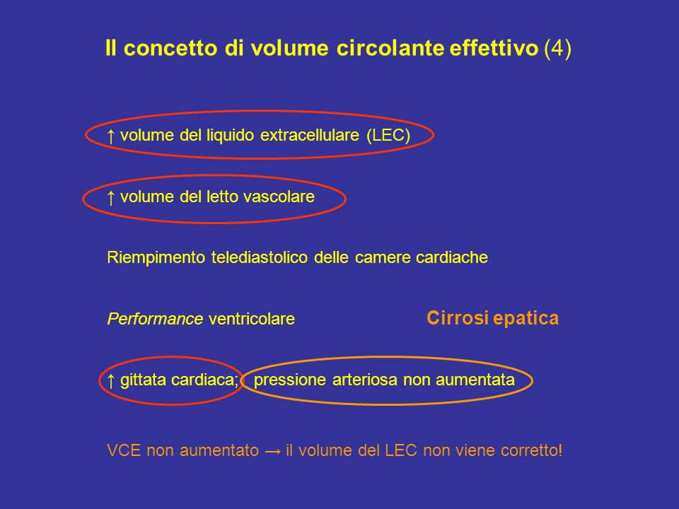 Il concetto di volume circolante effettivo (4) volume del liquido extracellulare (LEC) volume del letto vascolare Riempimento telediastolico delle cam