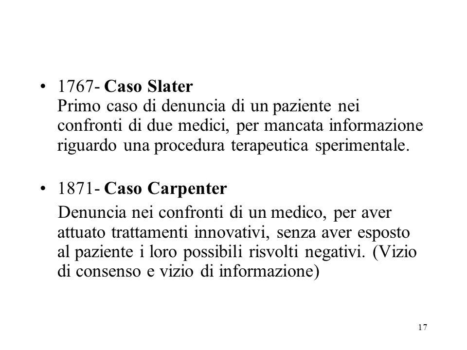 17 1767- Caso Slater Primo caso di denuncia di un paziente nei confronti di due medici, per mancata informazione riguardo una procedura terapeutica sp