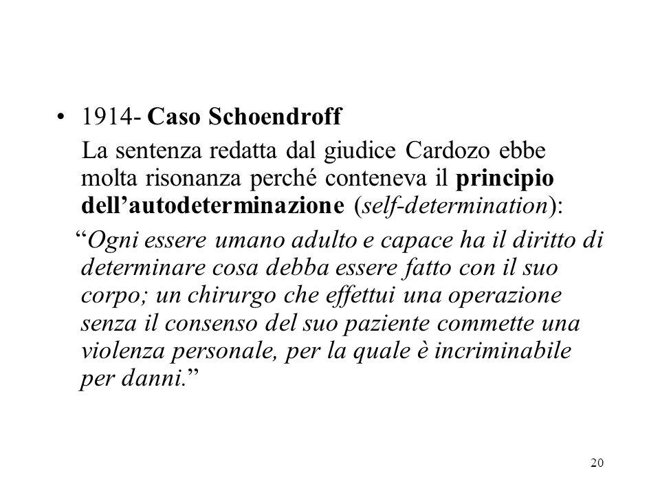 20 1914- Caso Schoendroff La sentenza redatta dal giudice Cardozo ebbe molta risonanza perché conteneva il principio dellautodeterminazione (self-dete