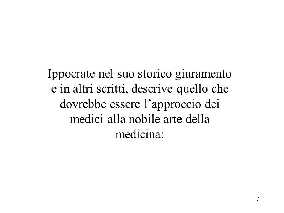 3 Ippocrate nel suo storico giuramento e in altri scritti, descrive quello che dovrebbe essere lapproccio dei medici alla nobile arte della medicina:
