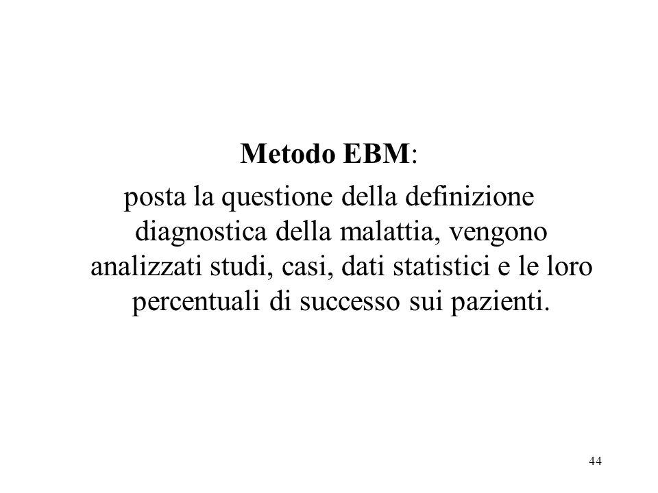 44 Metodo EBM: posta la questione della definizione diagnostica della malattia, vengono analizzati studi, casi, dati statistici e le loro percentuali