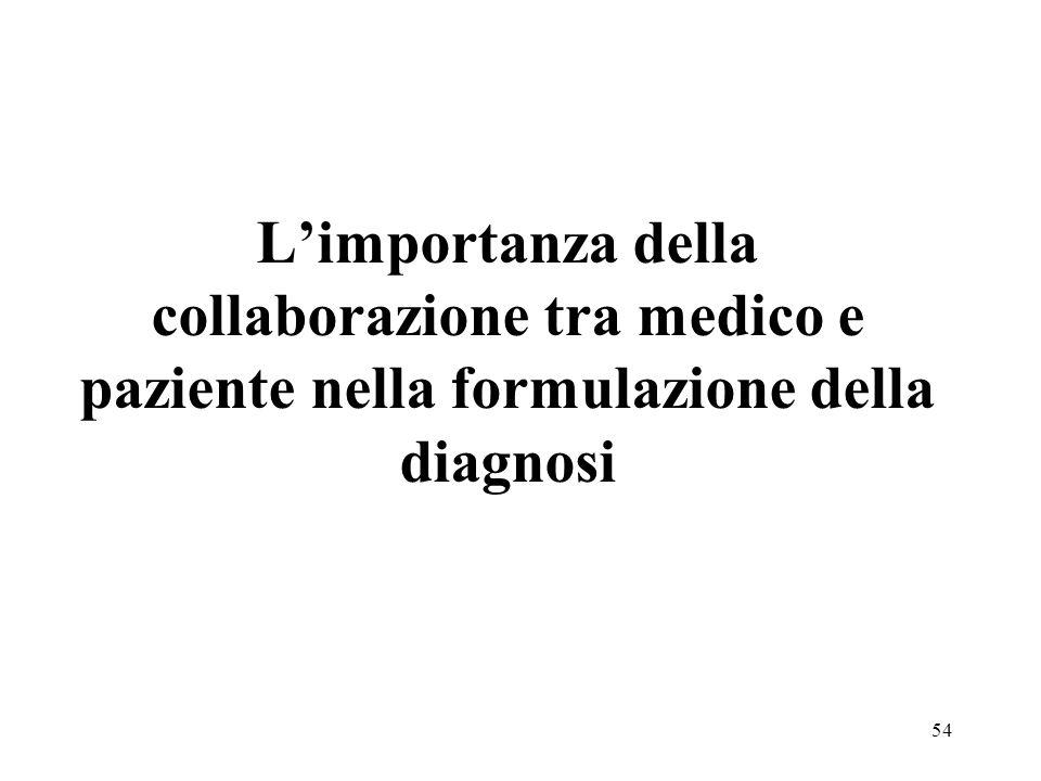 54 Limportanza della collaborazione tra medico e paziente nella formulazione della diagnosi
