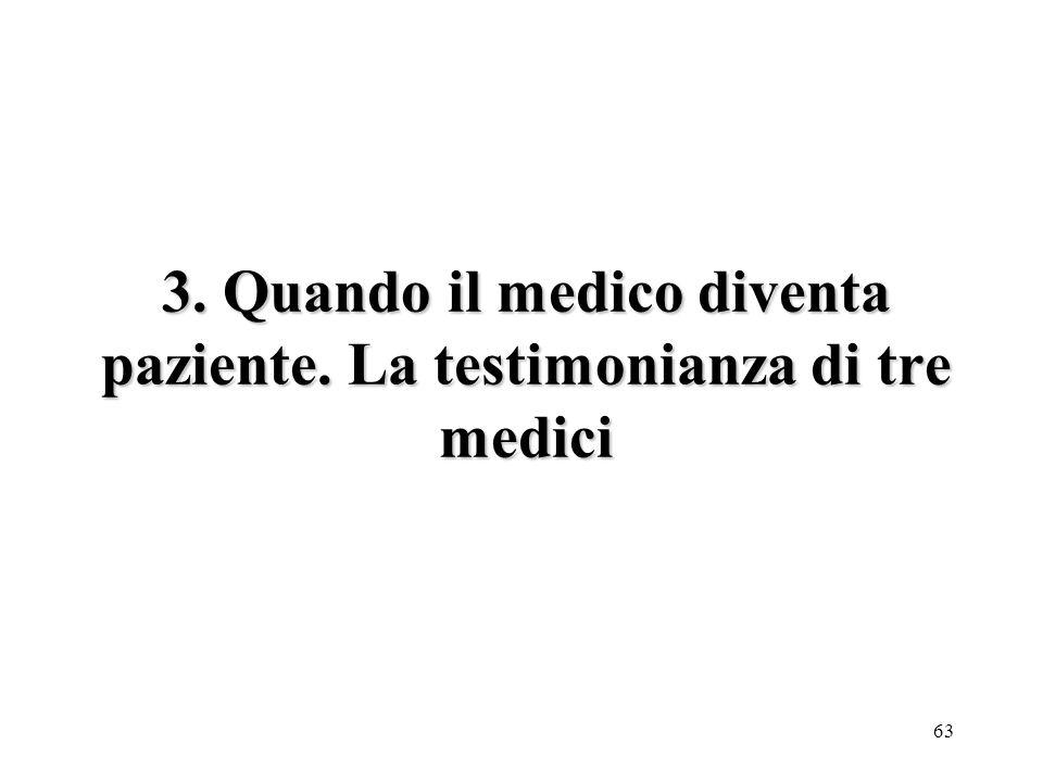 63 3. Quando il medico diventa paziente. La testimonianza di tre medici