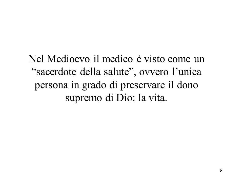 9 Nel Medioevo il medico è visto come un sacerdote della salute, ovvero lunica persona in grado di preservare il dono supremo di Dio: la vita.