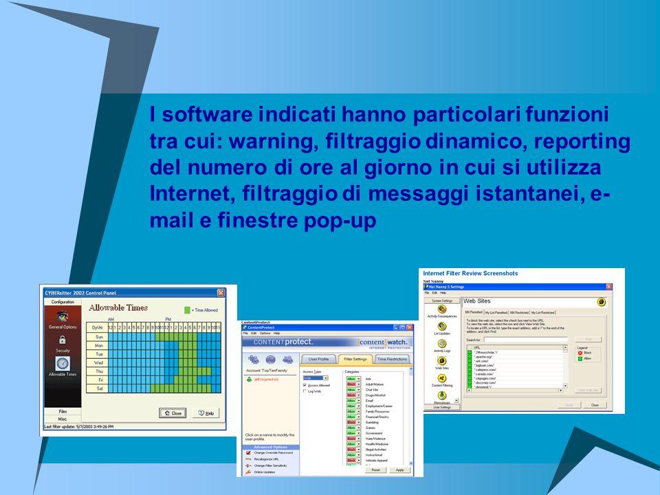 I software indicati hanno particolari funzioni tra cui: warning, filtraggio dinamico, reporting del numero di ore al giorno in cui si utilizza Interne