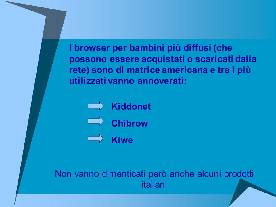 Kiddonet Chibrow Kiwe Non vanno dimenticati però anche alcuni prodotti italiani I browser per bambini più diffusi (che possono essere acquistati o sca