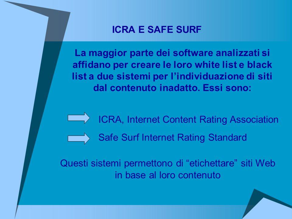 ICRA, Internet Content Rating Association Safe Surf Internet Rating Standard ICRA E SAFE SURF La maggior parte dei software analizzati si affidano per