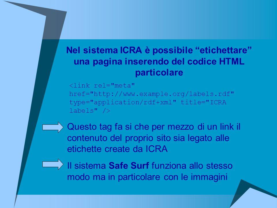 Questo tag fa si che per mezzo di un link il contenuto del proprio sito sia legato alle etichette create da ICRA Il sistema Safe Surf funziona allo st