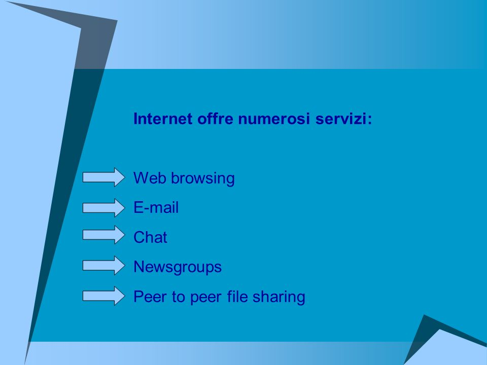 Internet offre numerosi servizi: Web browsing E-mail Chat Newsgroups Peer to peer file sharing
