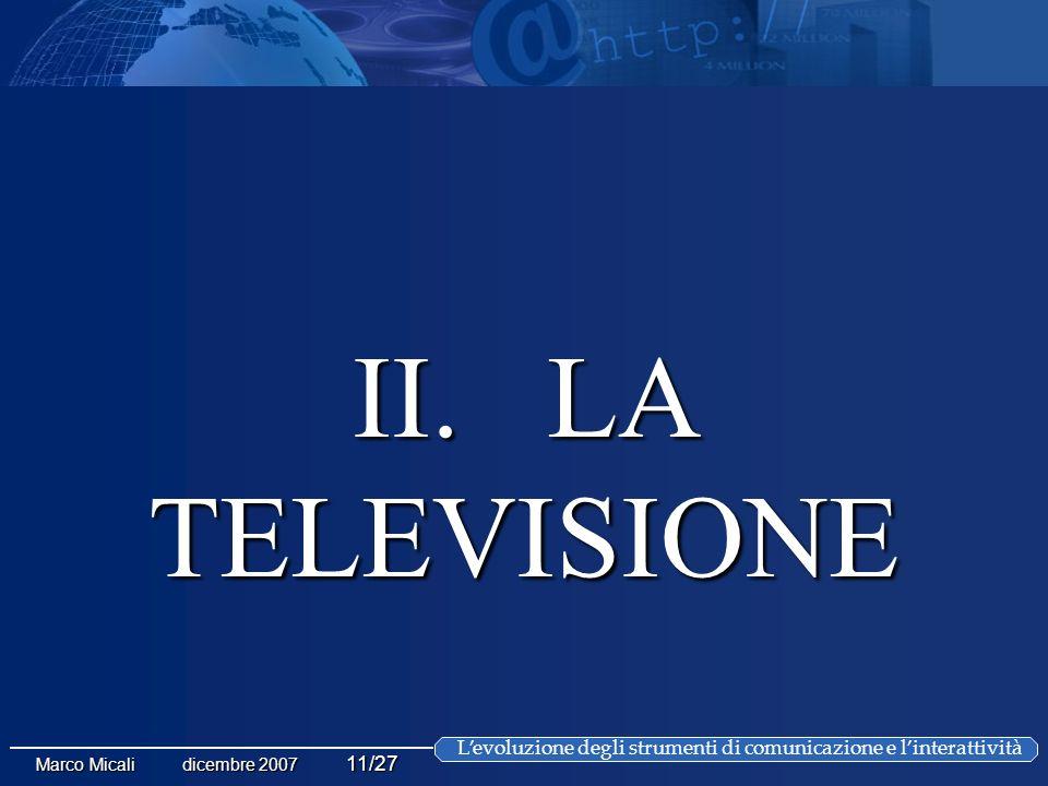Levoluzione degli strumenti di comunicazione e linterattività Marco Micali dicembre 2007 11/27 II.
