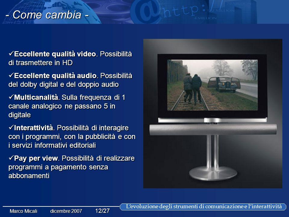 Levoluzione degli strumenti di comunicazione e linterattività Marco Micali dicembre 2007 12/27 Eccellente qualità video.