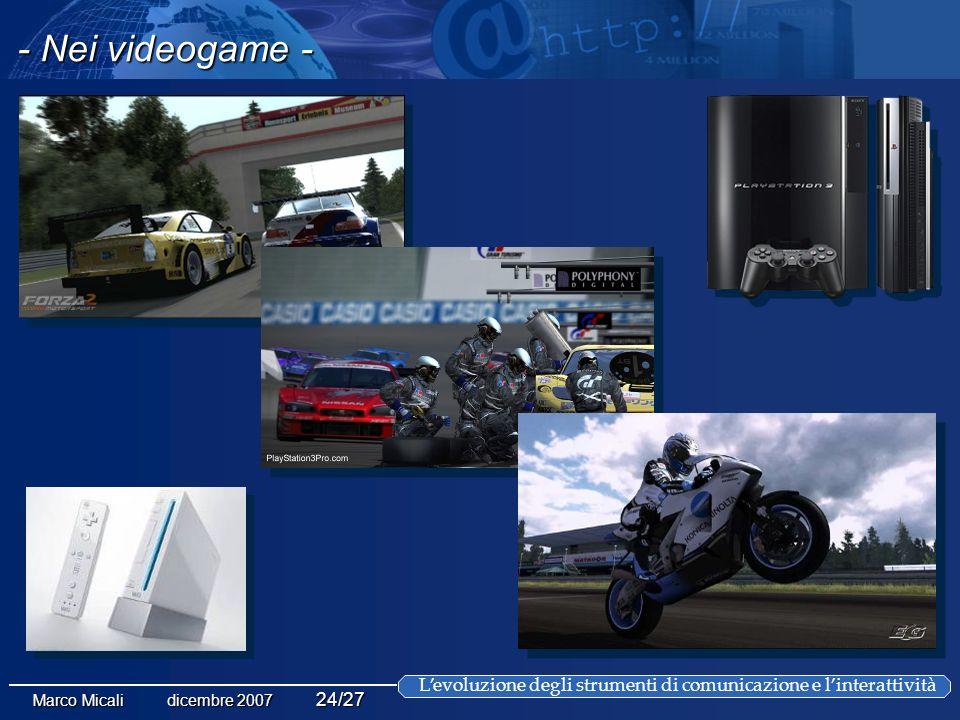 Levoluzione degli strumenti di comunicazione e linterattività Marco Micali dicembre 2007 24/27 - Nei videogame -