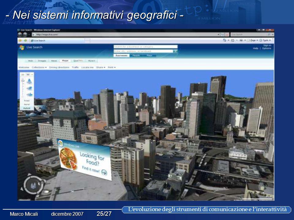 Levoluzione degli strumenti di comunicazione e linterattività Marco Micali dicembre 2007 25/27 - Nei sistemi informativi geografici -