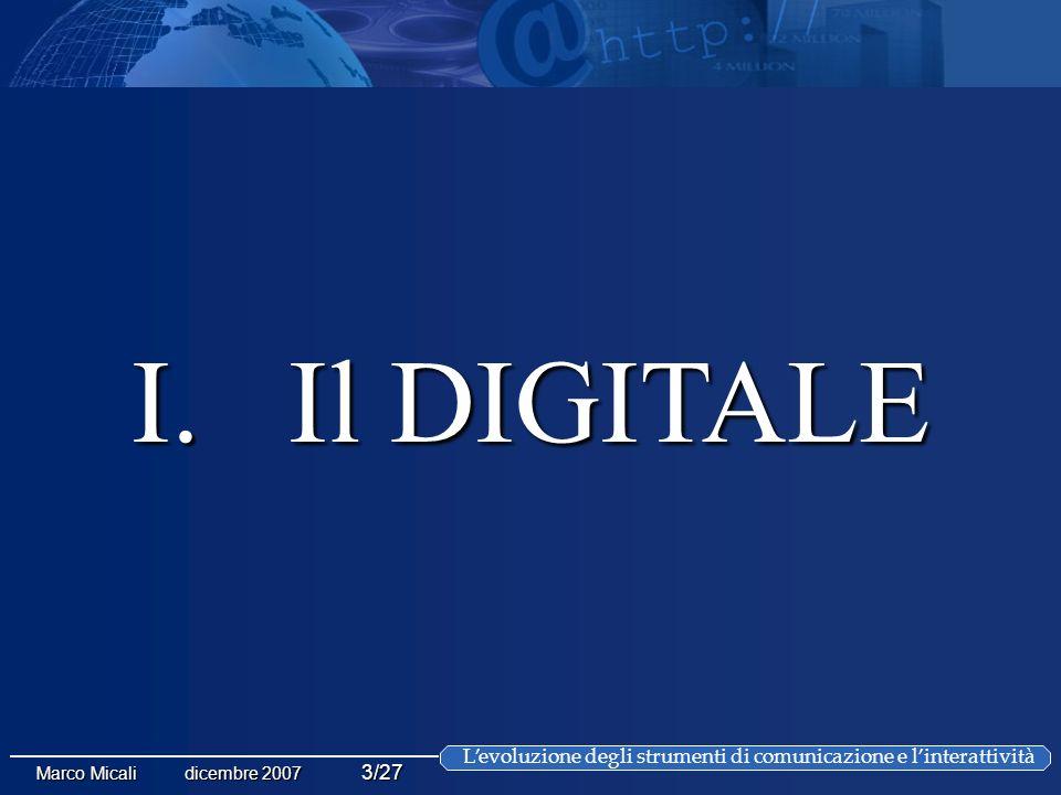 Levoluzione degli strumenti di comunicazione e linterattività Marco Micali dicembre 2007 3/27 I.