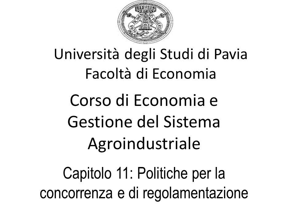 Università degli Studi di Pavia Facoltà di Economia Corso di Economia e Gestione del Sistema Agroindustriale Capitolo 11: Politiche per la concorrenza
