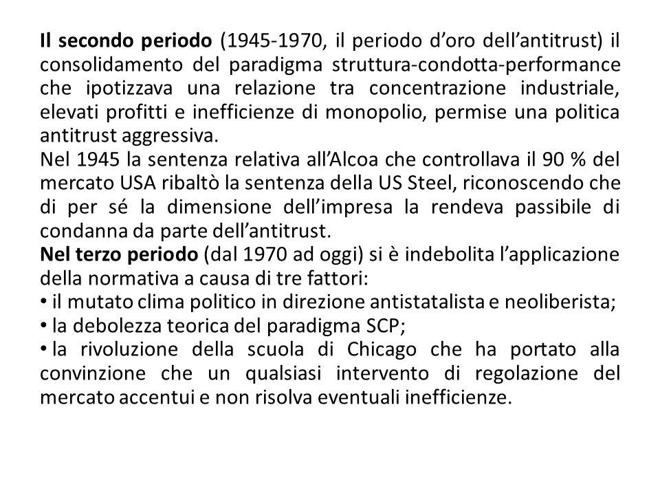 Il secondo periodo (1945-1970, il periodo doro dellantitrust) il consolidamento del paradigma struttura-condotta-performance che ipotizzava una relazi