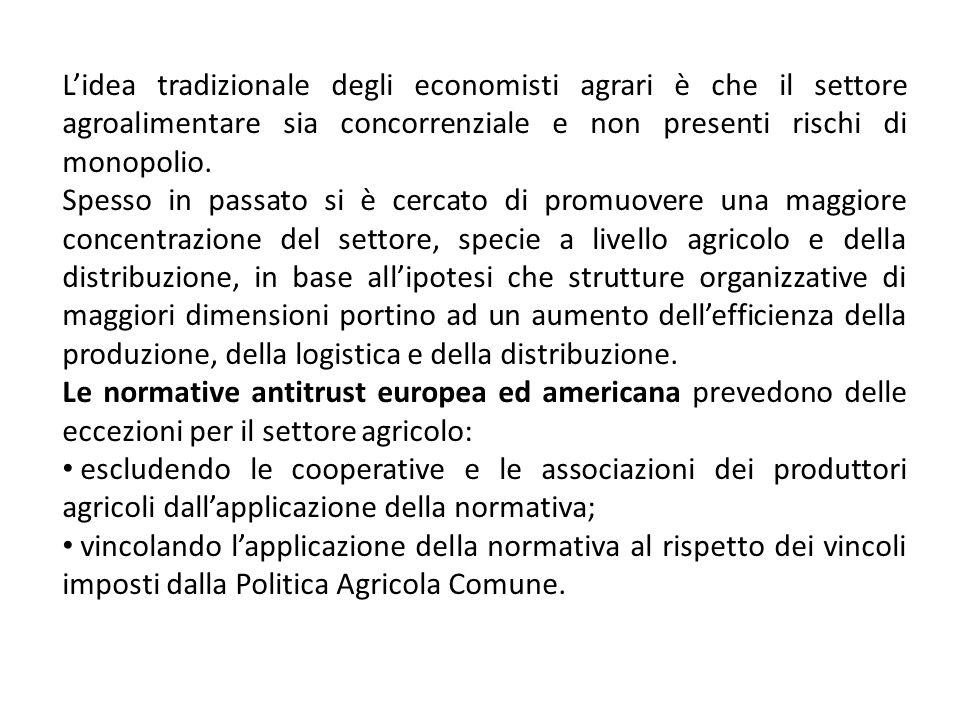 Lidea tradizionale degli economisti agrari è che il settore agroalimentare sia concorrenziale e non presenti rischi di monopolio. Spesso in passato si
