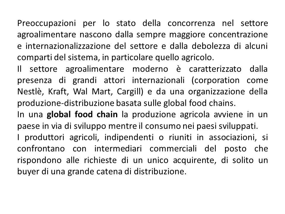 Preoccupazioni per lo stato della concorrenza nel settore agroalimentare nascono dalla sempre maggiore concentrazione e internazionalizzazione del set