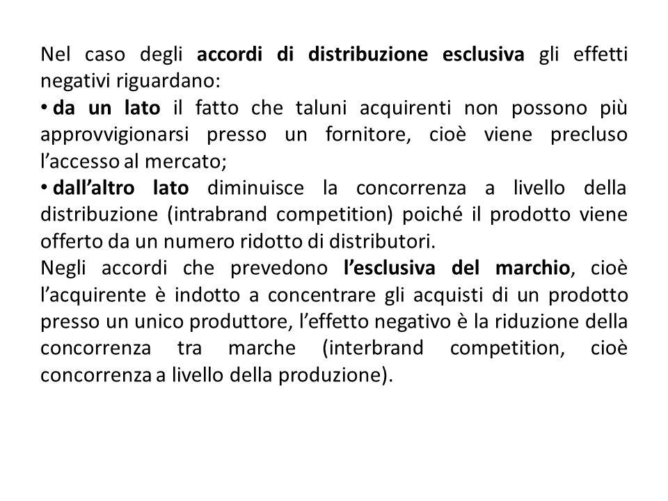 Nel caso degli accordi di distribuzione esclusiva gli effetti negativi riguardano: da un lato il fatto che taluni acquirenti non possono più approvvig
