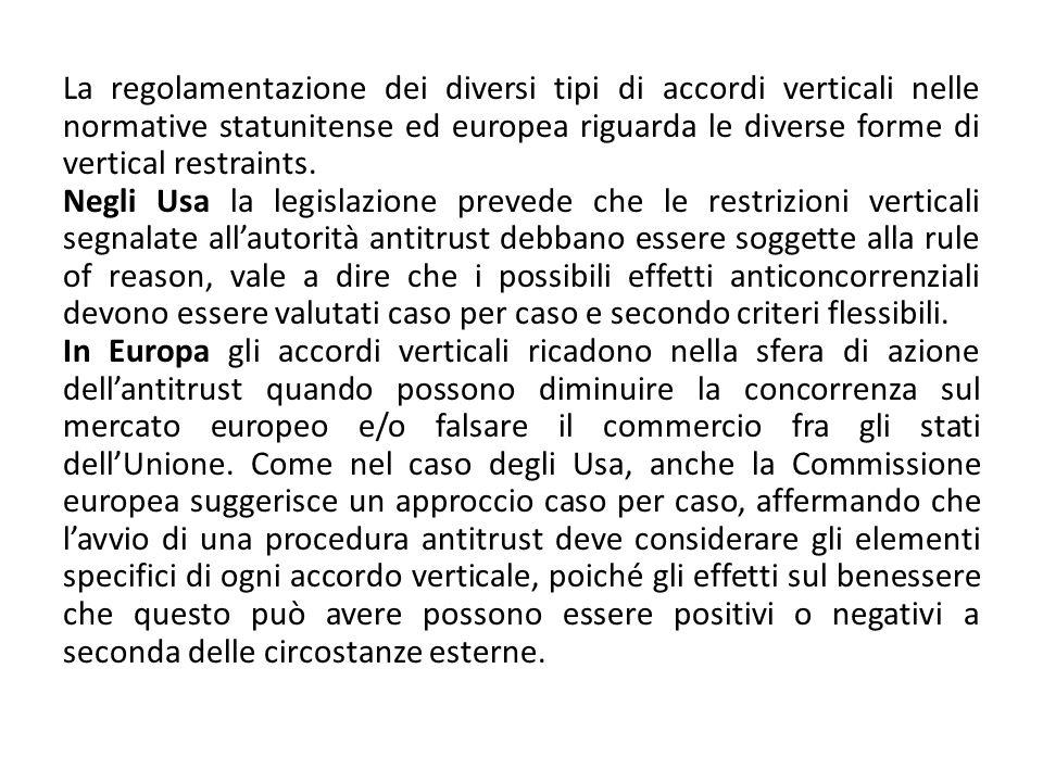 La regolamentazione dei diversi tipi di accordi verticali nelle normative statunitense ed europea riguarda le diverse forme di vertical restraints. Ne