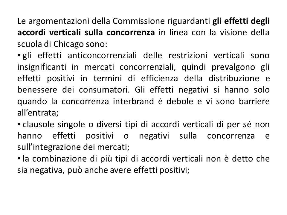 Le argomentazioni della Commissione riguardanti gli effetti degli accordi verticali sulla concorrenza in linea con la visione della scuola di Chicago