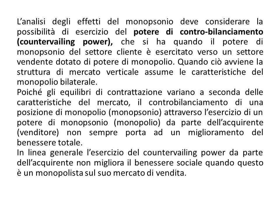 Lanalisi degli effetti del monopsonio deve considerare la possibilità di esercizio del potere di contro-bilanciamento (countervailing power), che si h
