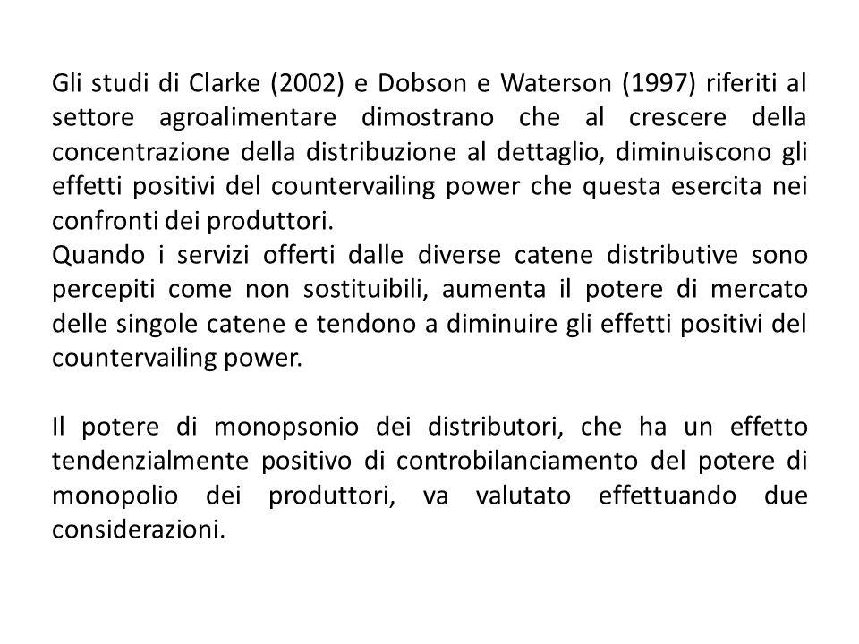 Gli studi di Clarke (2002) e Dobson e Waterson (1997) riferiti al settore agroalimentare dimostrano che al crescere della concentrazione della distrib