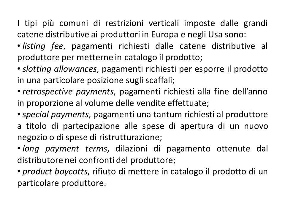 I tipi più comuni di restrizioni verticali imposte dalle grandi catene distributive ai produttori in Europa e negli Usa sono: listing fee, pagamenti r