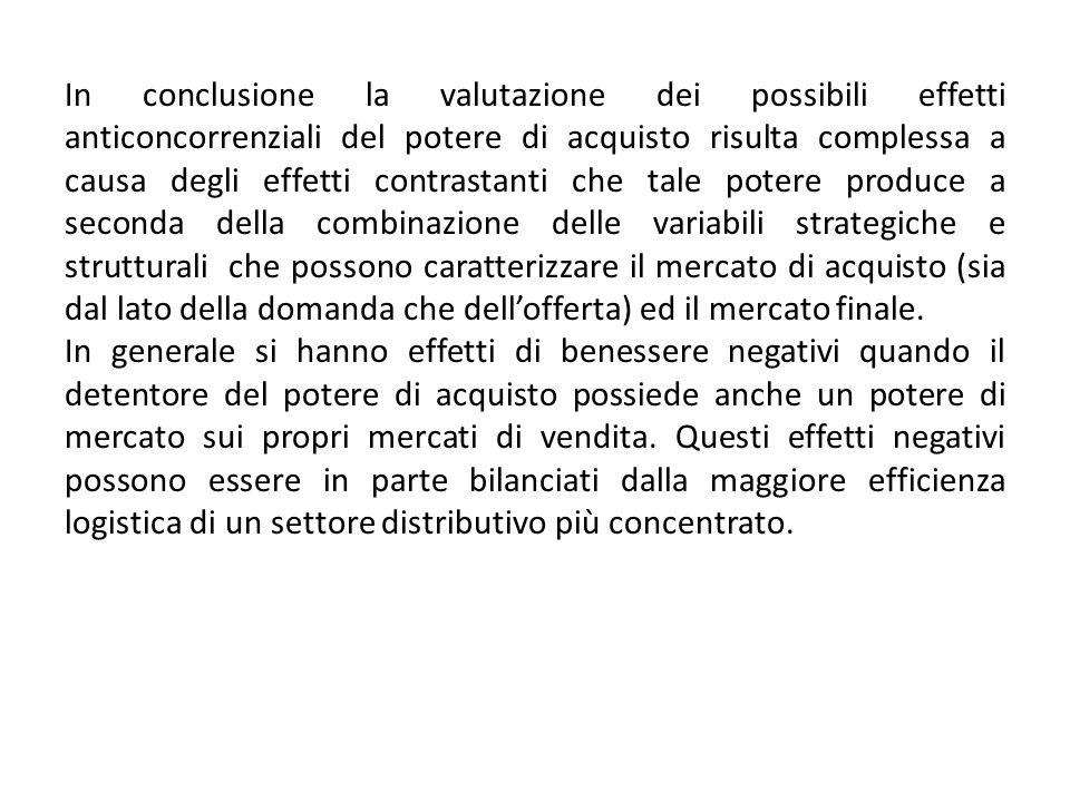 In conclusione la valutazione dei possibili effetti anticoncorrenziali del potere di acquisto risulta complessa a causa degli effetti contrastanti che