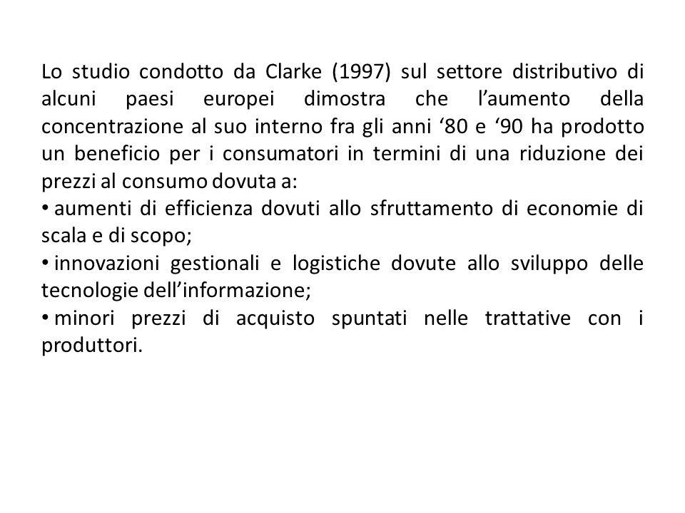 Lo studio condotto da Clarke (1997) sul settore distributivo di alcuni paesi europei dimostra che laumento della concentrazione al suo interno fra gli