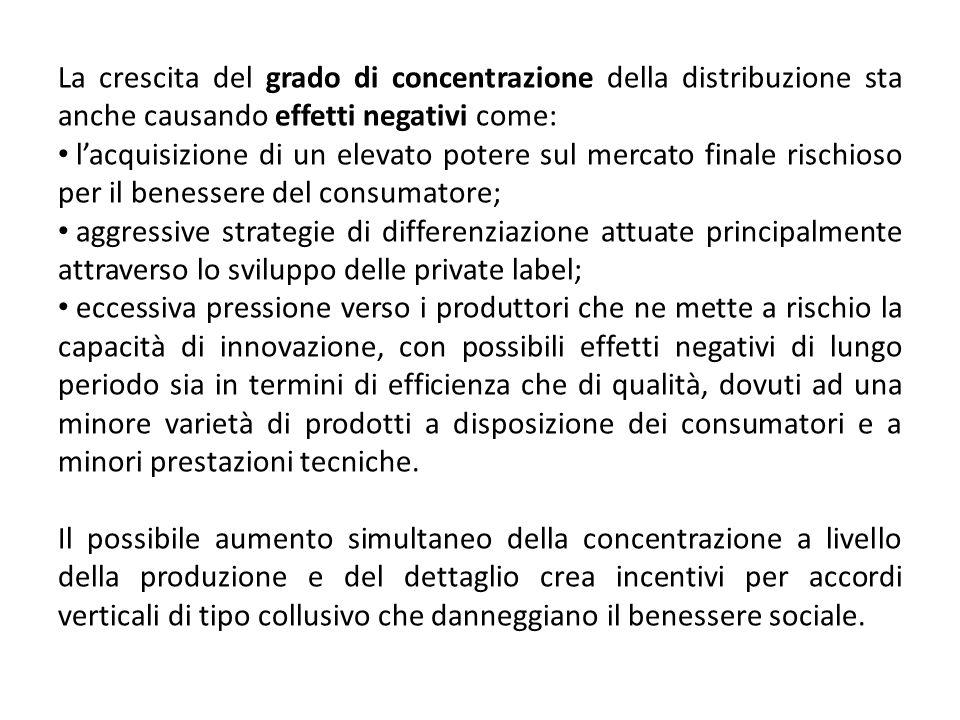 La crescita del grado di concentrazione della distribuzione sta anche causando effetti negativi come: lacquisizione di un elevato potere sul mercato f