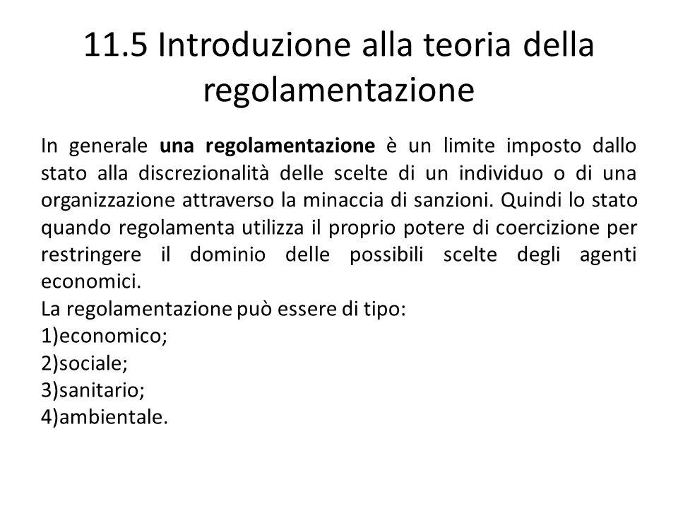 11.5 Introduzione alla teoria della regolamentazione In generale una regolamentazione è un limite imposto dallo stato alla discrezionalità delle scelt