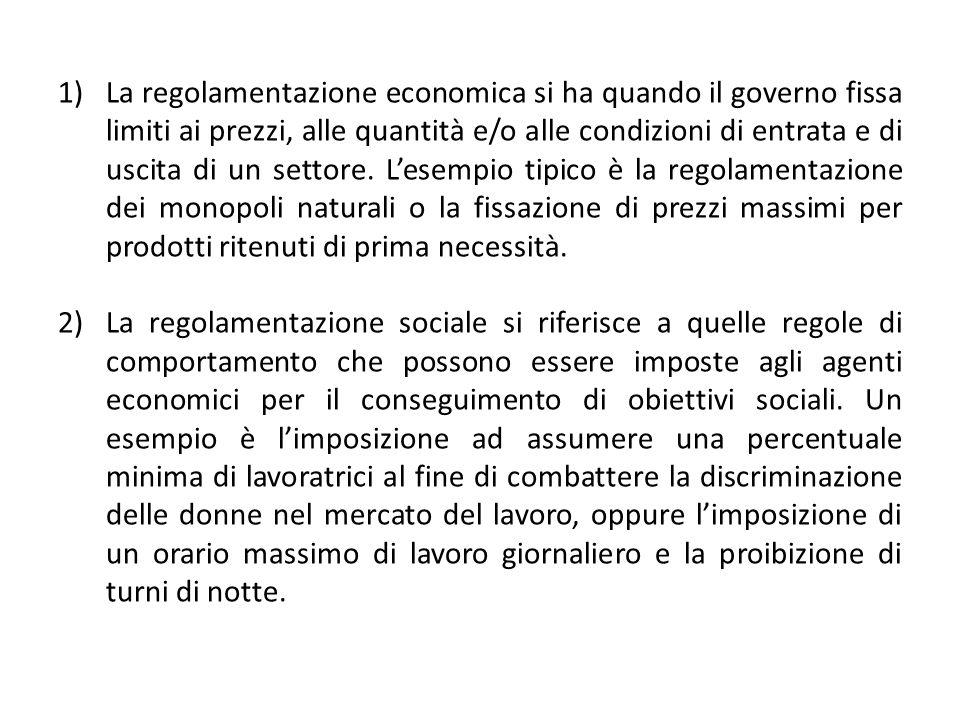 1)La regolamentazione economica si ha quando il governo fissa limiti ai prezzi, alle quantità e/o alle condizioni di entrata e di uscita di un settore